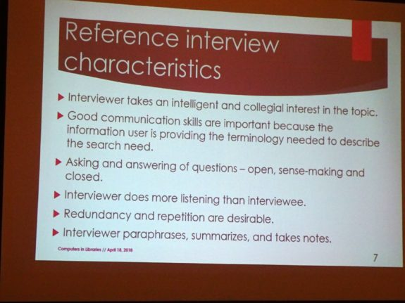 Reference interview characteristics
