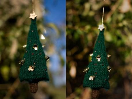 """Déco """"arbre de noël"""" tricoté et feutré par Libellune"""