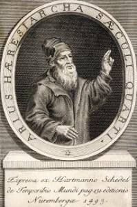 Arius argumentând pentru supremația lui Dumnezeu Tatăl