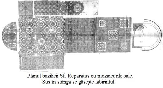 11.5.10.01 Planul bazilicii Sf. Reparatus cu mozaicurile sale. Sus în stânga se găseşte labirintul.