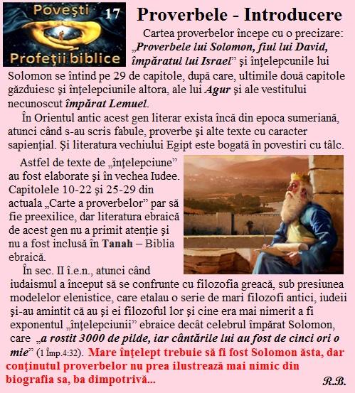 17. Proverbele - introducere