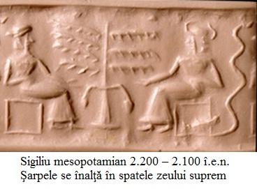 8.2.2.1 Sigiliu mesopotamian 2.200 – 2.100 î.e.n. Şarpele se înalţă în spatele zeului suprem