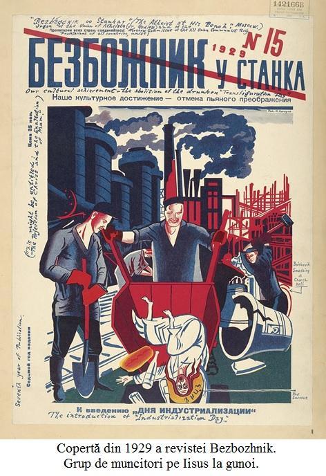 A.14.6.01 Copertă din 1929 a revistei Bezbozhnik. Grup de muncitori pe Iisus la gunoi.
