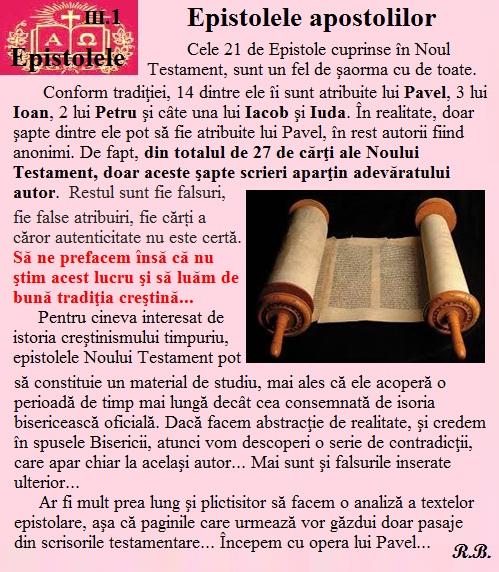III.01. Epistolele apostolilor