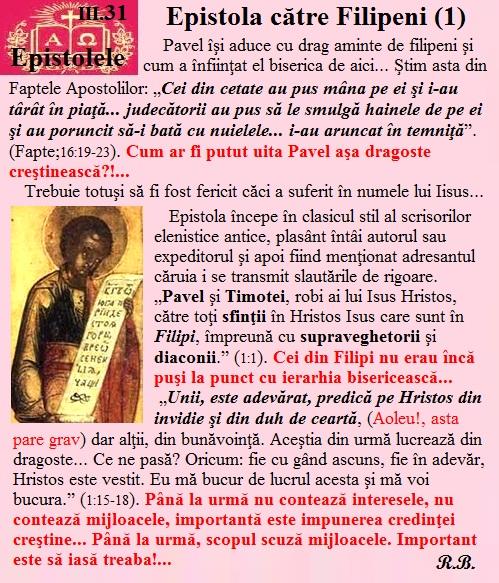 III.31. Epistola către filipeni (1)