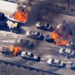 Motorists Flee As Wildfire Races Across Highway, Blowing Cars Up