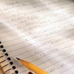 Math Homework in Notebook