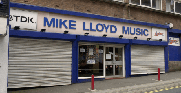 Mike Lloyd Music storefront, Hanley, Stoke-on-trent.