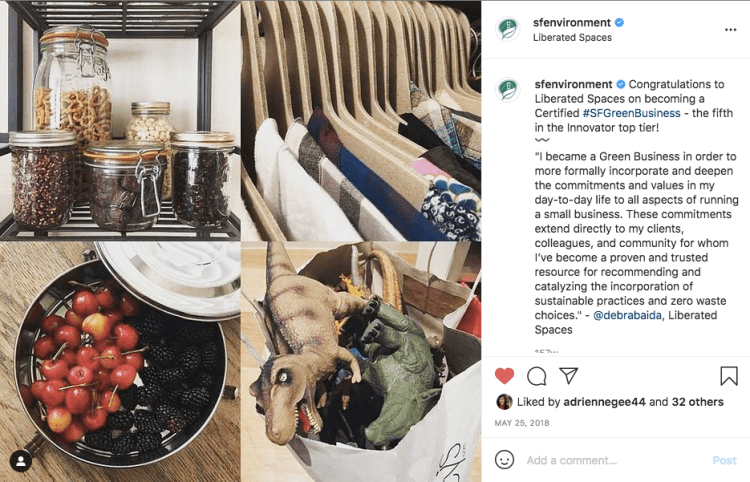 SF Environment's Instragram post about Liberated Spaces' becoming an Innovator Business.