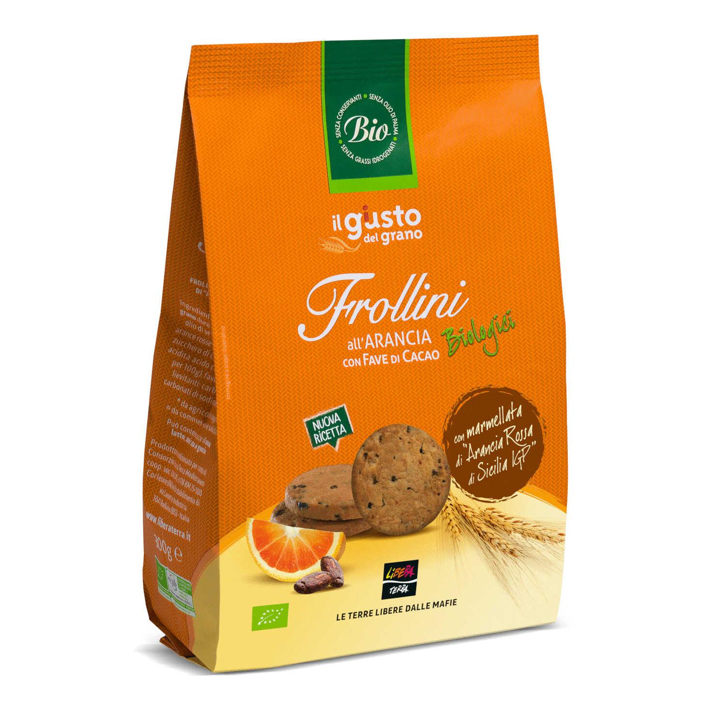 Frollini Biologici all'Arancia con Fave di Cacao 300g