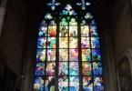 Religious stained glass windows in Prague, Czech Republic