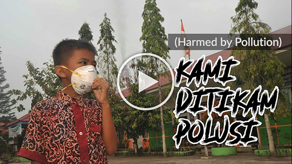 A video screenshot of a young boy in Indonesia with the title 'Harmed by Pollution'