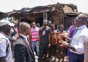 Obaseki visits burnt spare parts market in Benin, promise assistance for victims