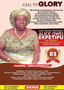 Obituary: Mama Diefugha, aged 83 journey's home today – The Liberator