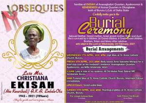 Late Christiana Ekisah To Be Buried In Burutu On Friday 9th April 2021