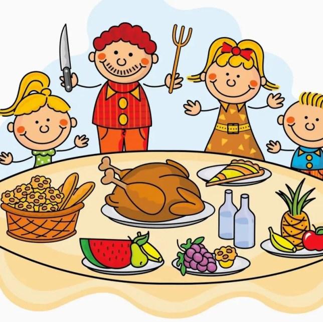 famiglia felice pronta a gustare un pasto