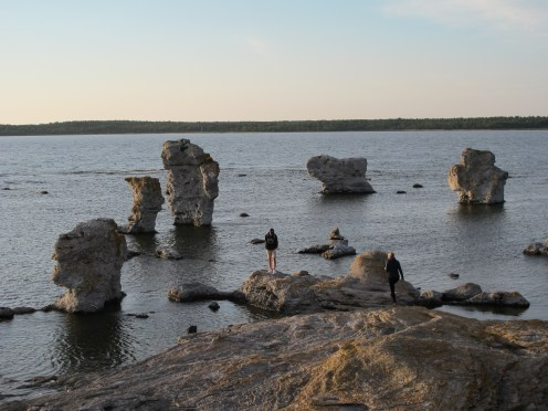 The rauks, like giants rising from the sea.