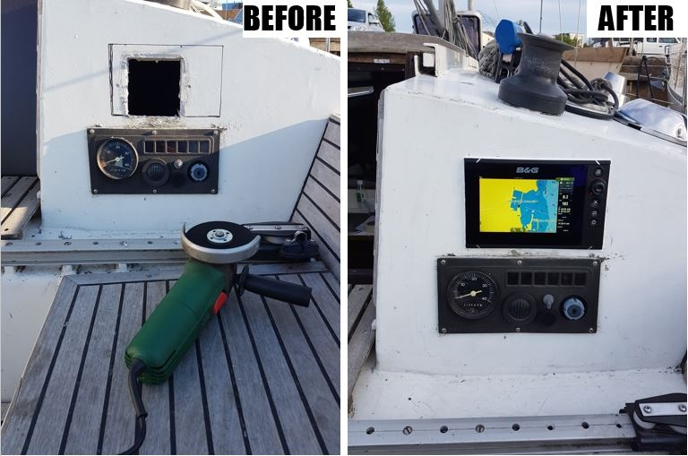 Chart plotter before and after