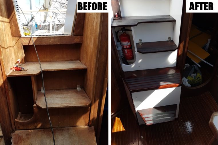 Companionway stairs before and after
