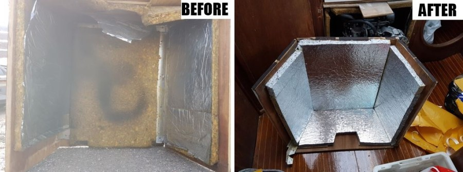 Motor cover sound insulation before and after