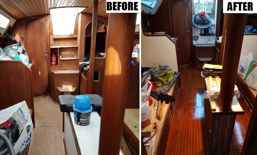 The saloon floor before and after
