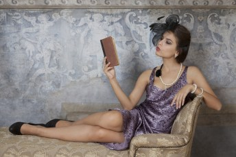 Beauty Brunette Woman Reading Book for Hero Allure