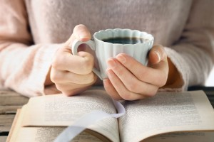 Me-time: Cup of tea, book, mental images of characters