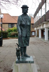 Bronze statue of Dorothy L. Sayers by John Doubleday. The statue is opposite her home at 24 Newland Street, Witham