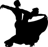 silhouette of dancing couple in extravagant pose