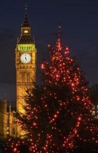 Big Ben with Christmas Tree
