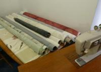 Joanna's unsewn curtain material and sewing machine