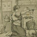 woman working at old-fashioned stove