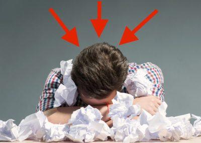 frustrated writer alone in garret
