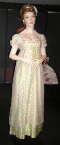 Regency evening gown, replica, Bath costume museum