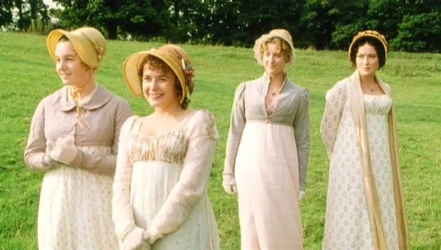 In BBC's 1995 Pride and Prejudice, Mary and Jane wear spencers, Lizzie wears a shawl, and Lydia wears…er…nothing