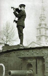 British soldier playing violin on a tank, 1st world war