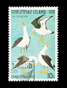 4 calling birds, Christmas Island stamp 1977