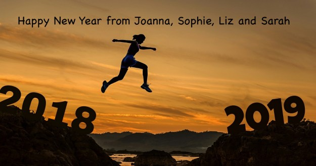 happy new year 2019 woman leaping from old year to new
