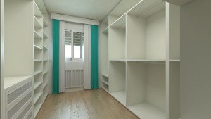 dressing room with empty shelves