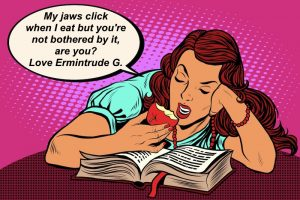 cartoon Ermintrude whose jaw click when she eats
