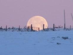 moon rise snowy landscape