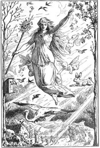 Ostara (1884) by Johannes Gehrts. The goddess flies through the heavens surrounded by Roman-inspired putti, beams of light, and animals. Germanic people look up at the goddess from the realm below.