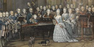 Thanks to Music, 18th century, harpsichord, singer