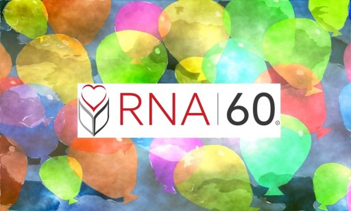 RNA at 60 celebration balloons