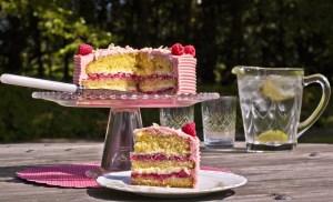 Raspberry sponge cake with lemonade