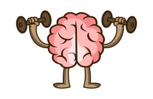 Cartoon brain lifting dumbbells