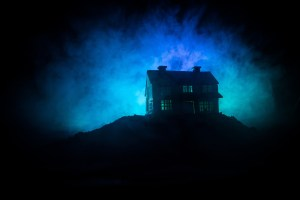 lonely house in ghostly light