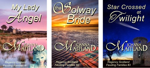 Covers of Feuding Families Series by Joanna Maitland