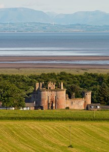 Caerlaverock Castle and view to the Solway Firth