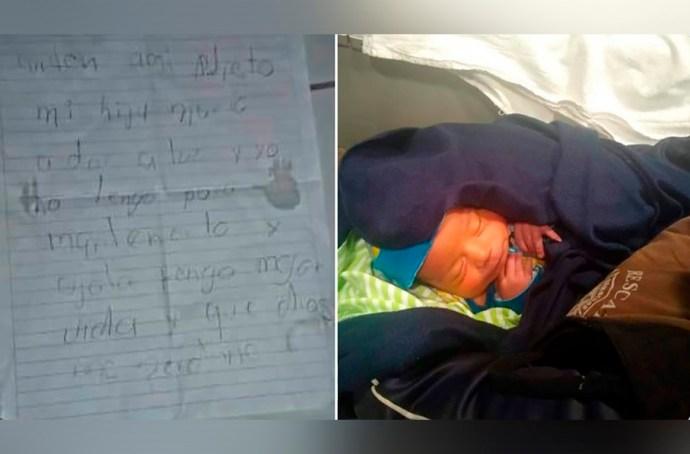Abuela abandona bebé en una caja de pizza con una nota